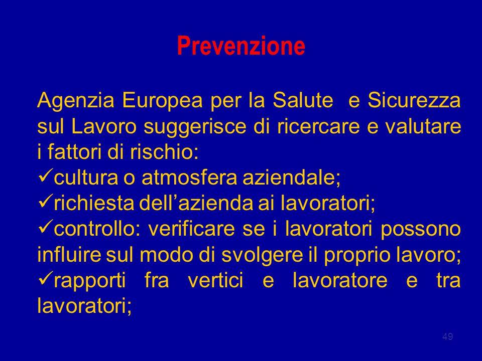 Prevenzione Agenzia Europea per la Salute e Sicurezza sul Lavoro suggerisce di ricercare e valutare i fattori di rischio: