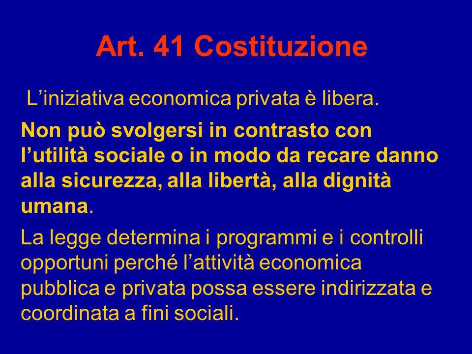 Art. 41 Costituzione L'iniziativa economica privata è libera.