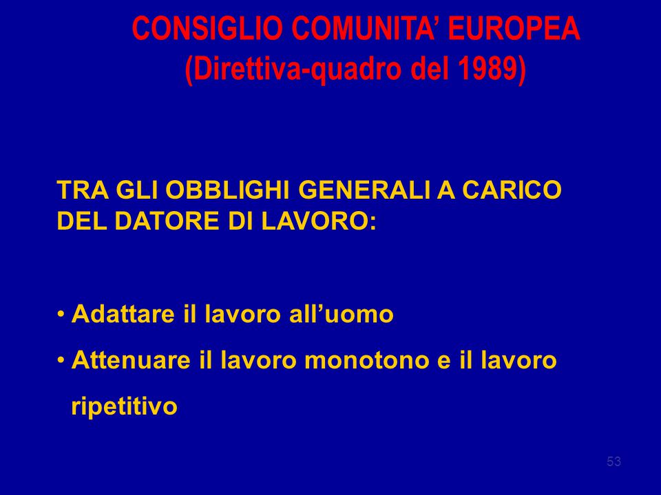 CONSIGLIO COMUNITA' EUROPEA (Direttiva-quadro del 1989)