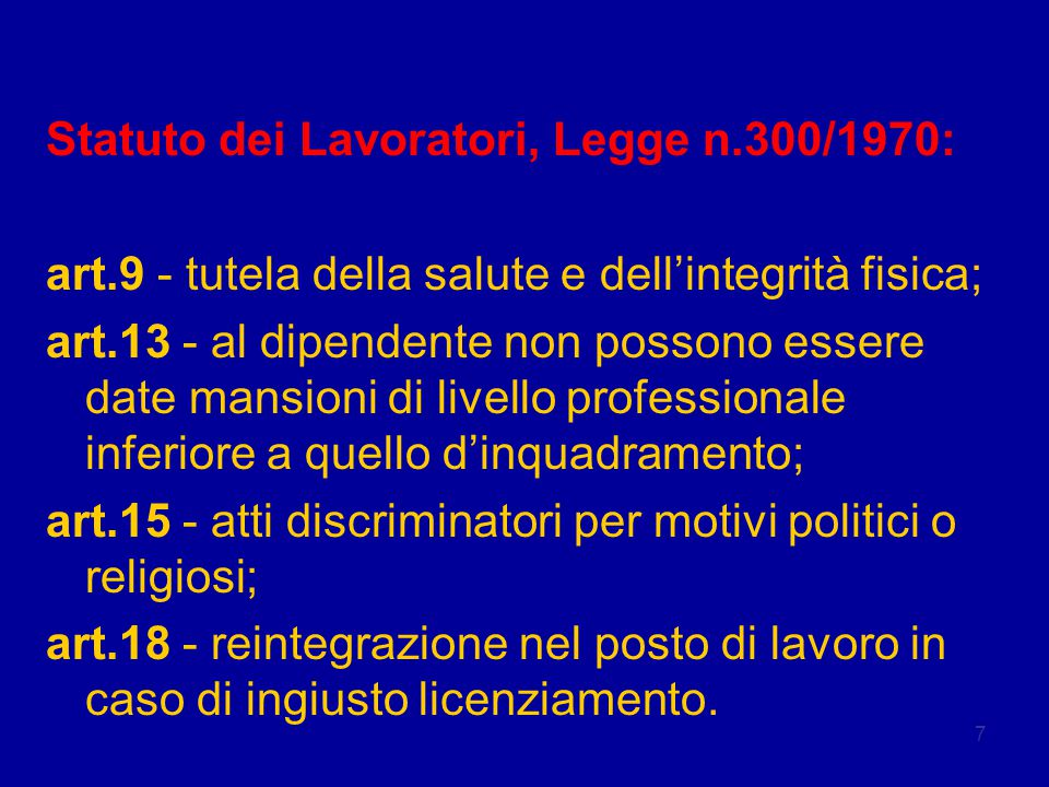 Legislazione Statuto dei Lavoratori, Legge n.300/1970:
