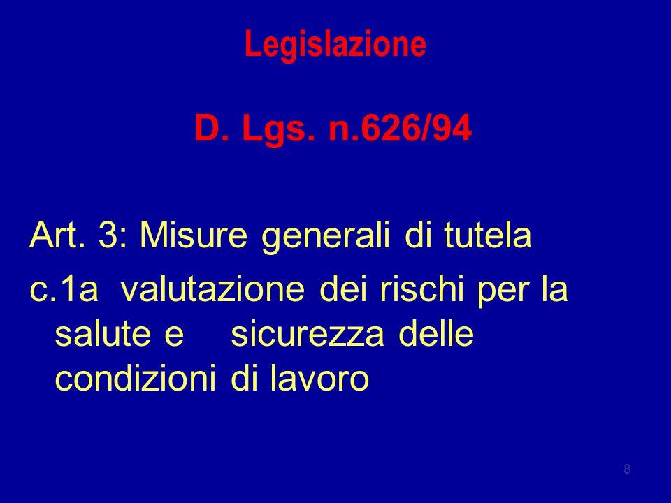 Legislazione D. Lgs. n.626/94. Art. 3: Misure generali di tutela.
