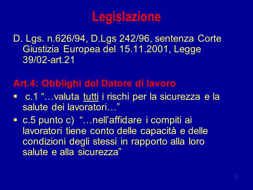 Legislazione D. Lgs. n.626/94, D.Lgs 242/96, sentenza Corte Giustizia Europea del 15.11.2001, Legge 39/02-art.21.