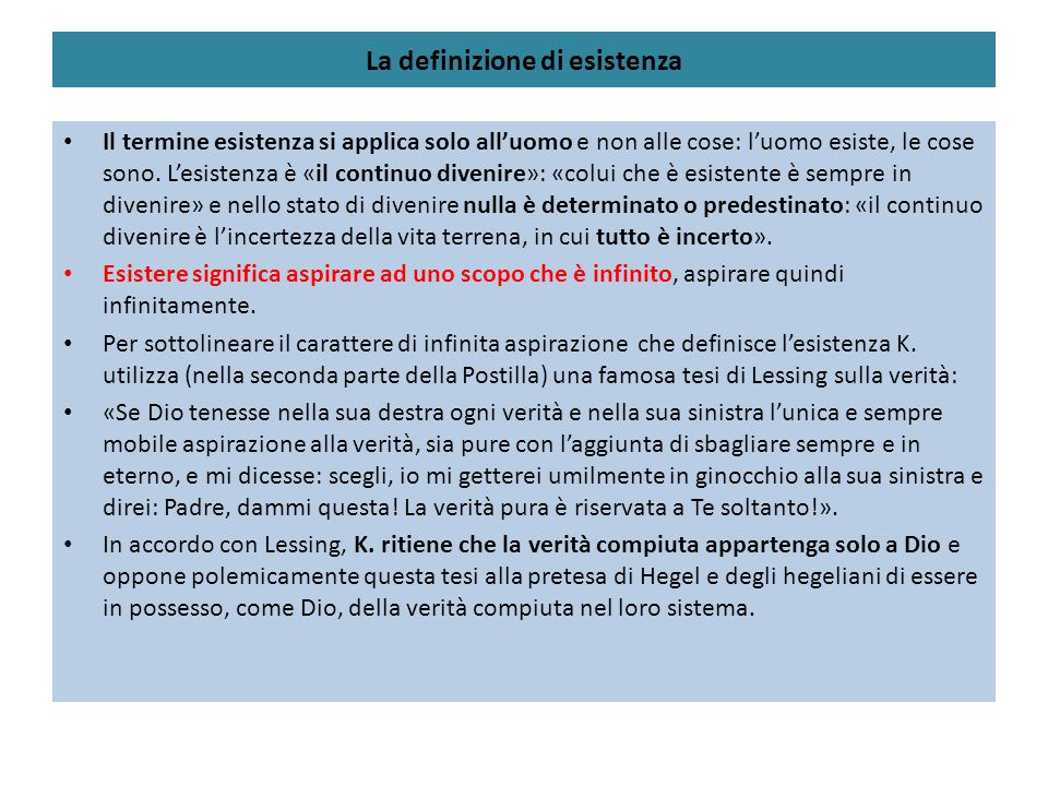 La definizione di esistenza
