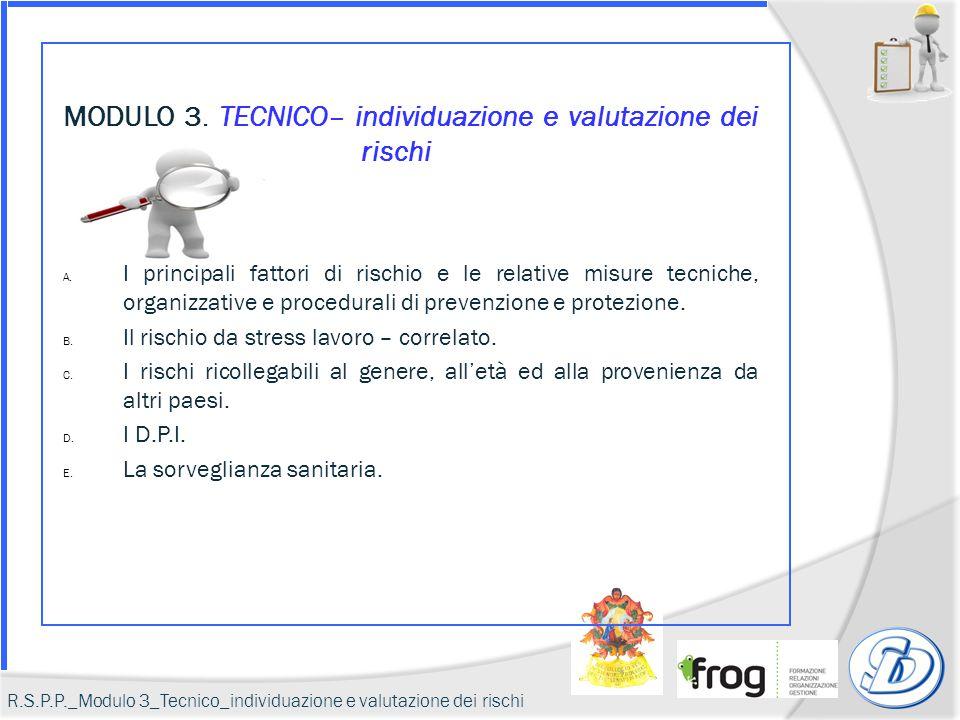 MODULO 3. TECNICO– individuazione e valutazione dei rischi