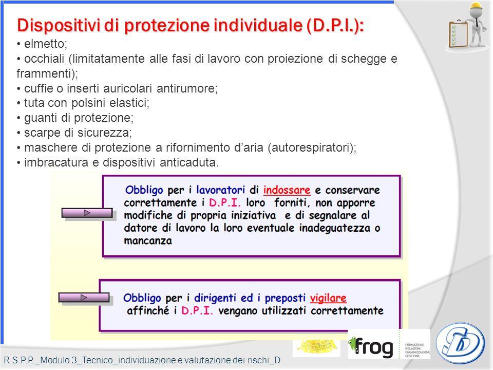Dispositivi di protezione individuale (D.P.I.):