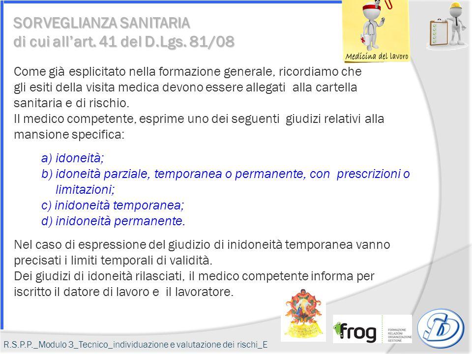 SORVEGLIANZA SANITARIA di cui all'art. 41 del D.Lgs. 81/08