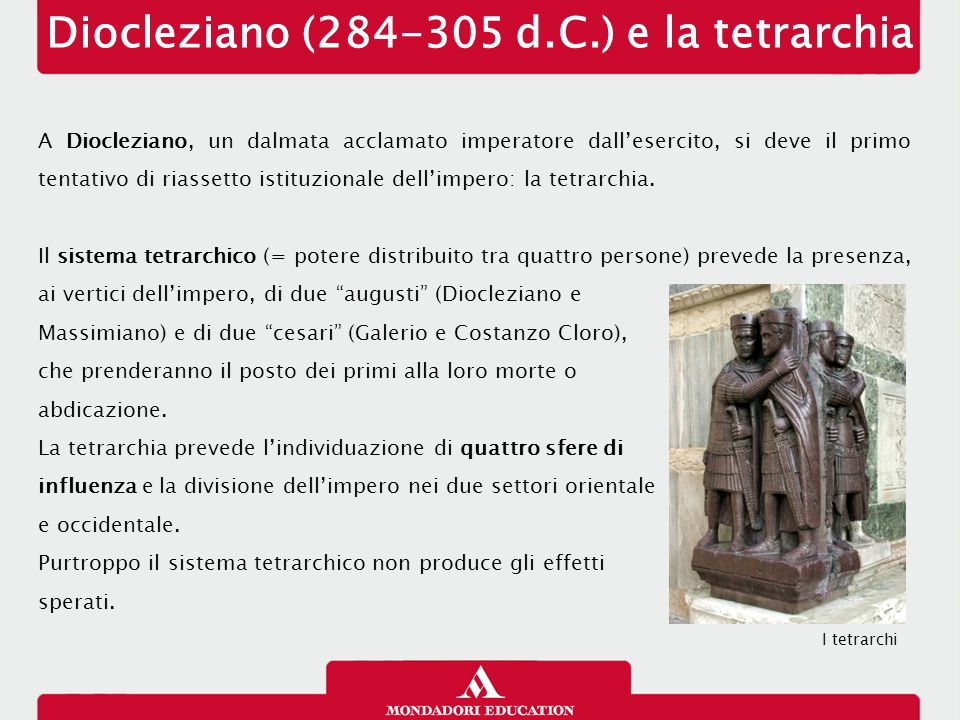 Diocleziano (284-305 d.C.) e la tetrarchia
