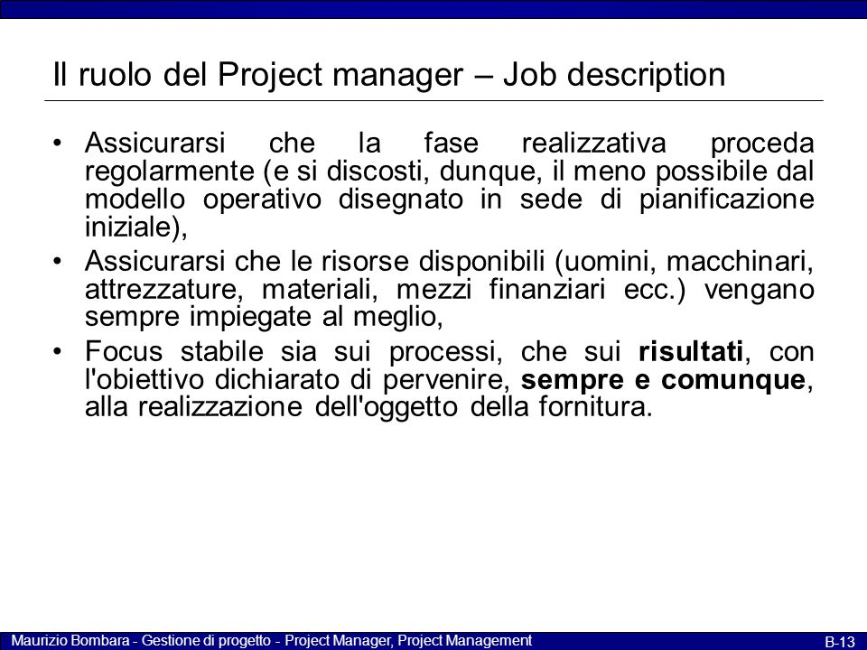 Il ruolo del Project manager – Job description
