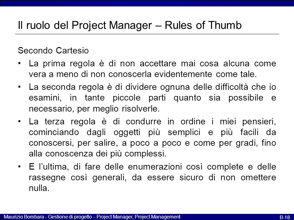 Il ruolo del Project Manager – Rules of Thumb
