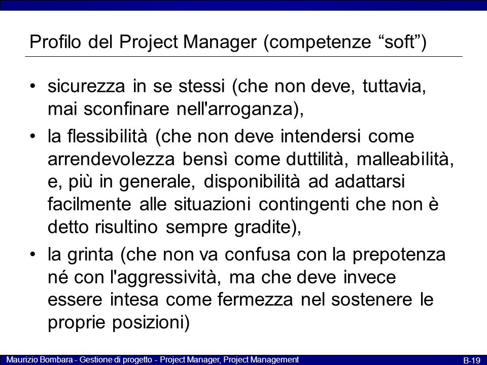 Profilo del Project Manager (competenze soft )