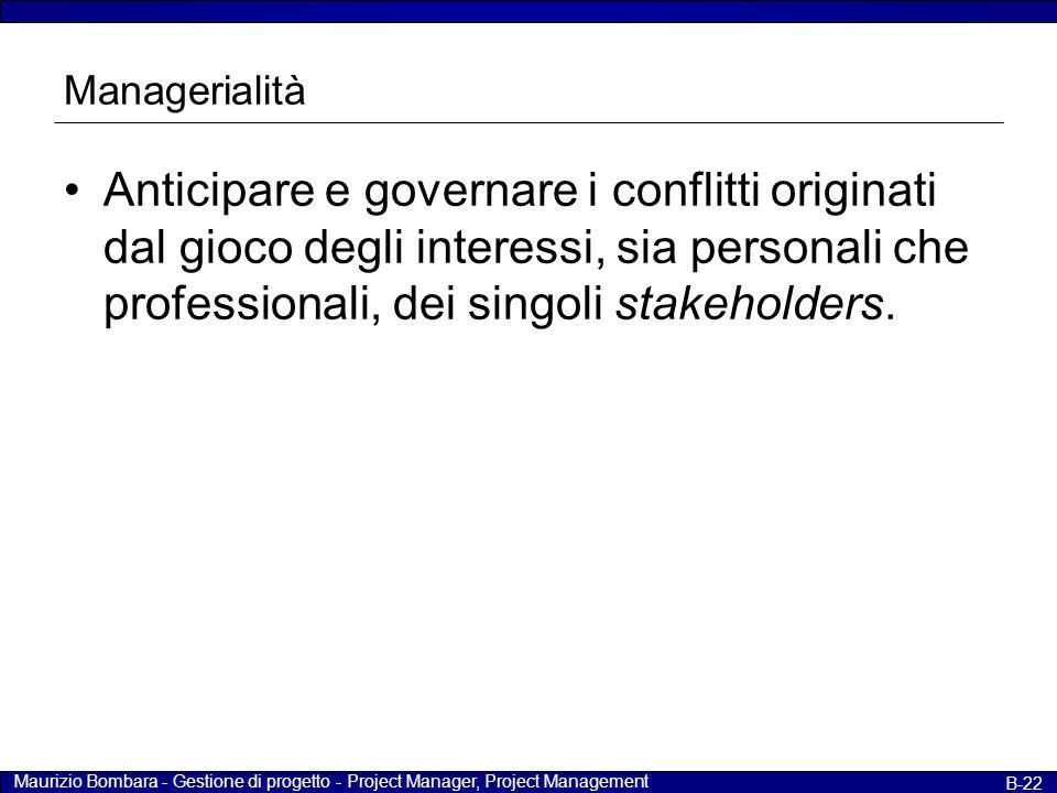 Managerialità Anticipare e governare i conflitti originati dal gioco degli interessi, sia personali che professionali, dei singoli stakeholders.