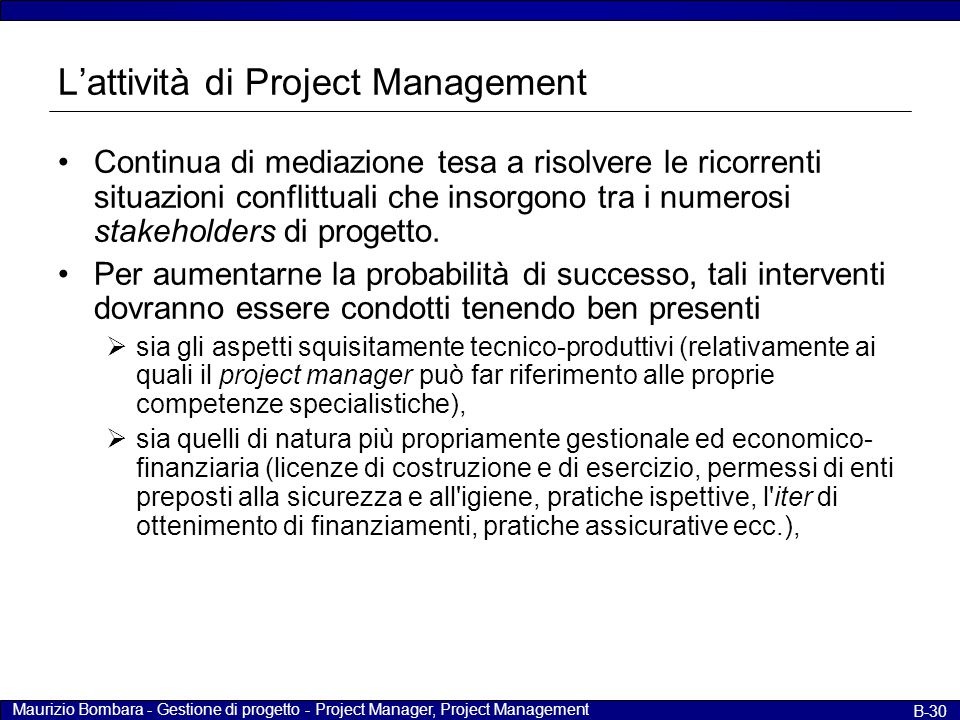 L'attività di Project Management