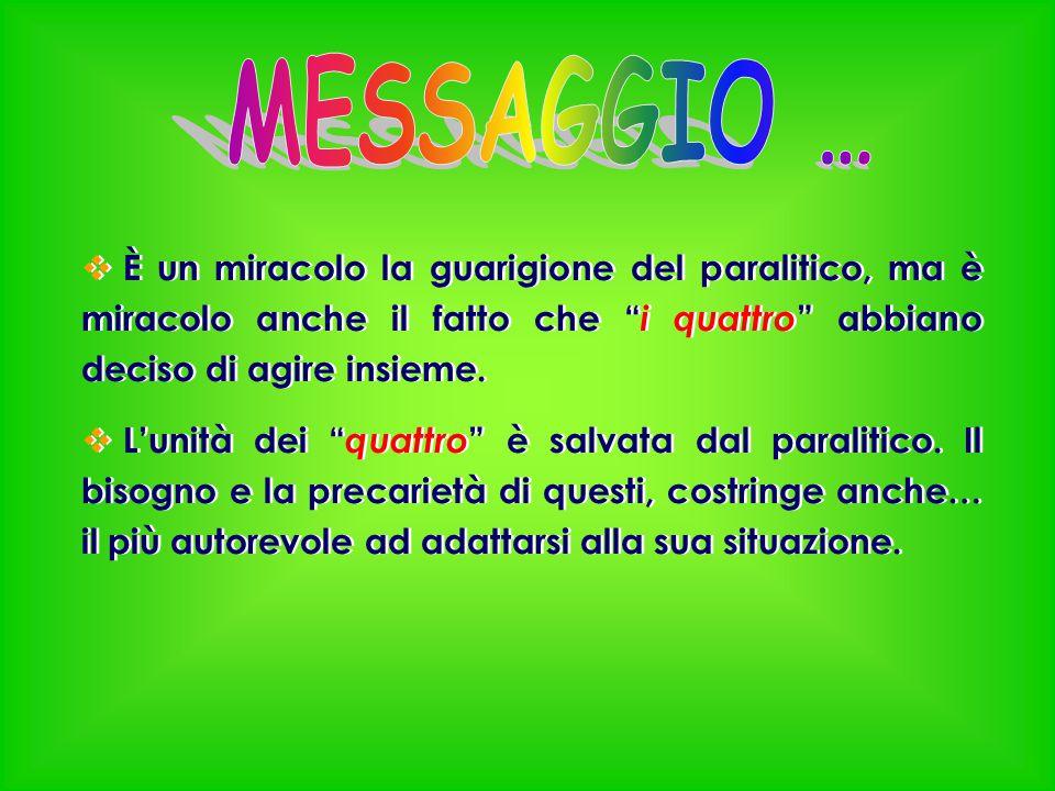 MESSAGGIO … È un miracolo la guarigione del paralitico, ma è miracolo anche il fatto che i quattro abbiano deciso di agire insieme.