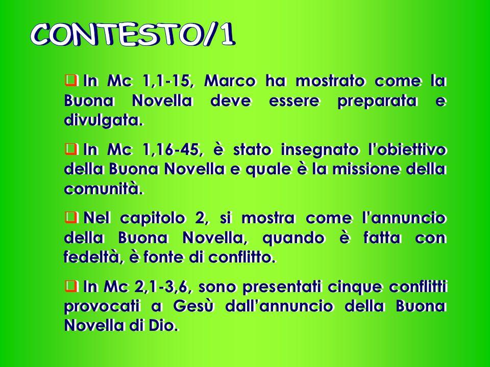 CONTESTO/1 In Mc 1,1-15, Marco ha mostrato come la Buona Novella deve essere preparata e divulgata.