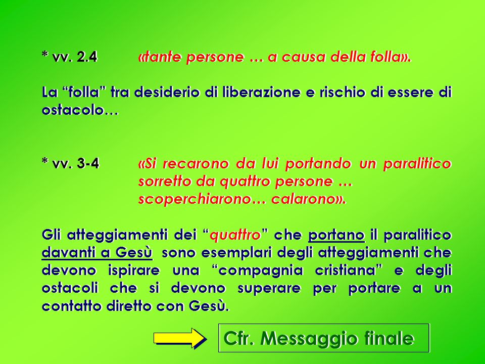Cfr. Messaggio finale * vv. 2.4 «tante persone … a causa della folla».