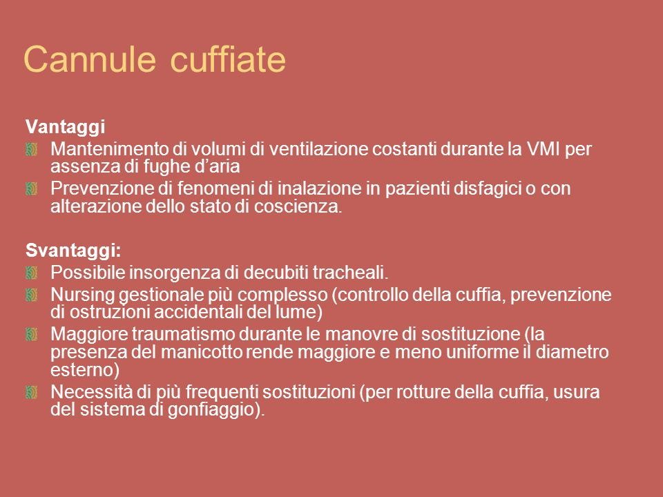 Cannule cuffiate Vantaggi