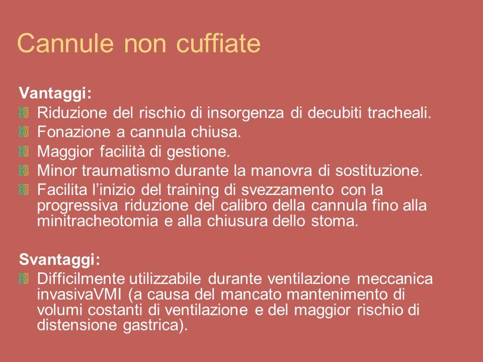 Cannule non cuffiate Vantaggi: