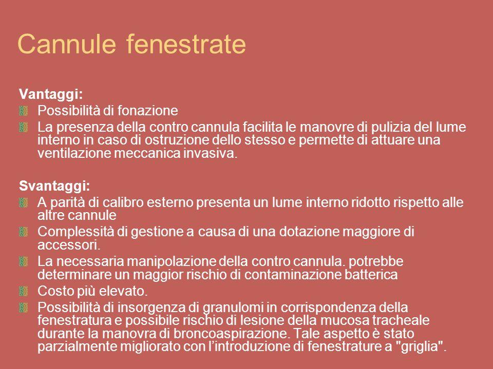 Cannule fenestrate Vantaggi: Possibilità di fonazione