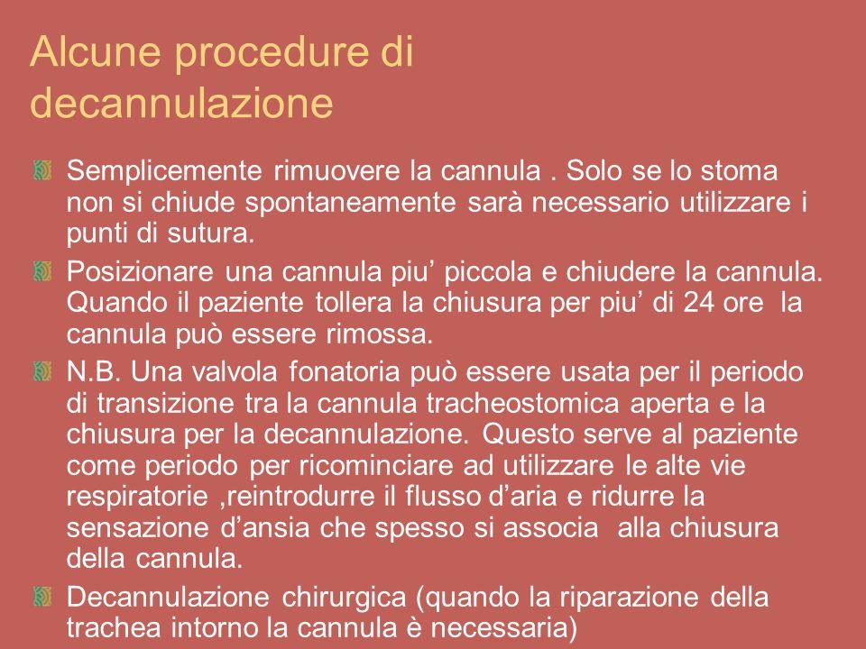 Alcune procedure di decannulazione