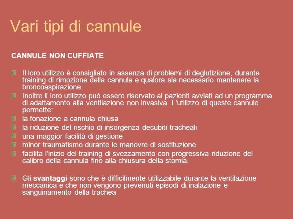 Vari tipi di cannule CANNULE NON CUFFIATE