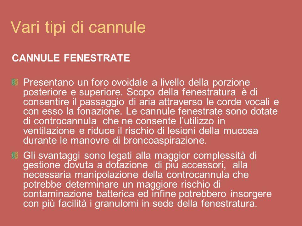 Vari tipi di cannule CANNULE FENESTRATE
