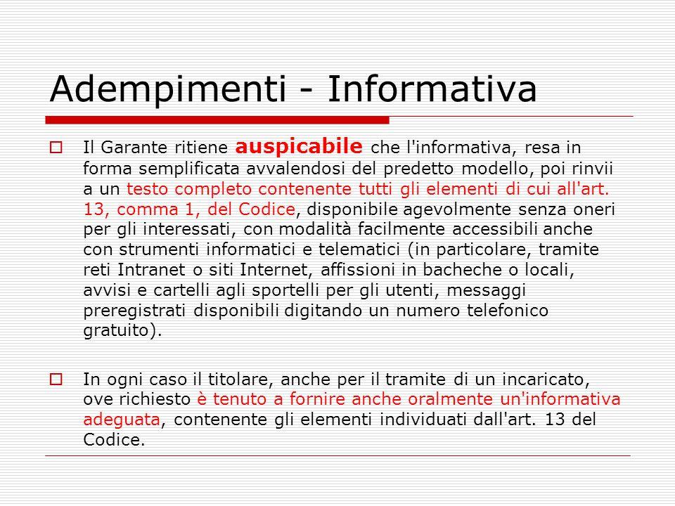 Adempimenti - Informativa