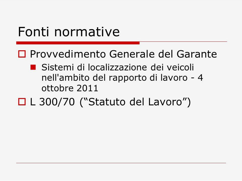 Fonti normative Provvedimento Generale del Garante