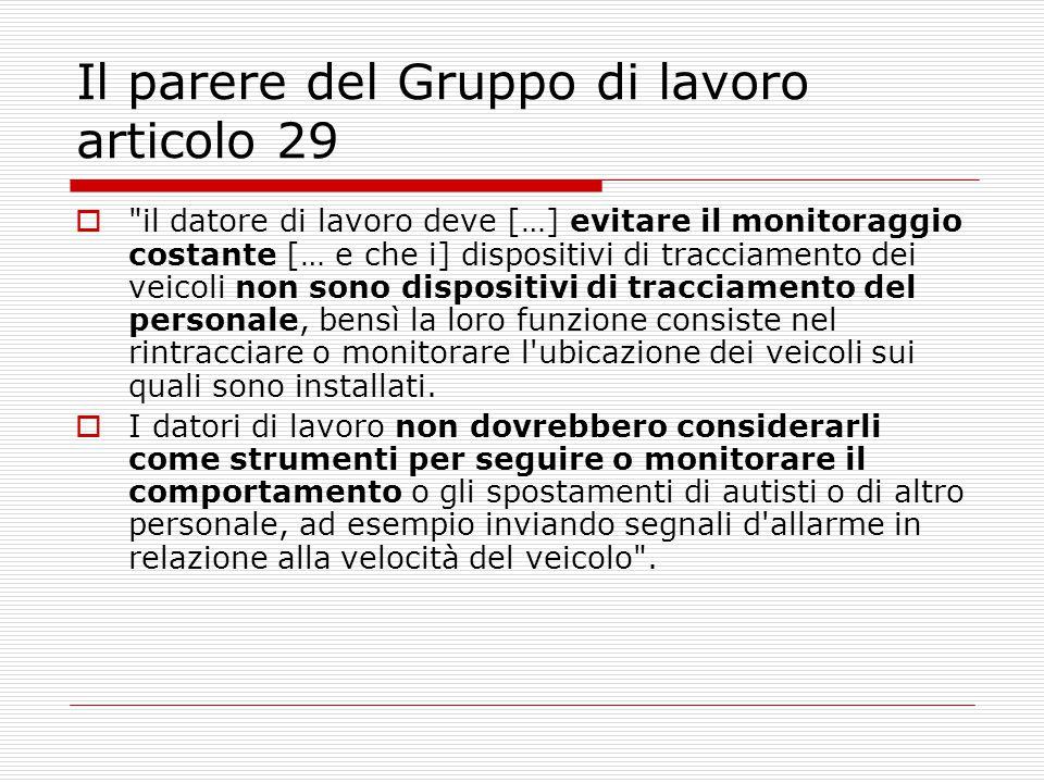 Il parere del Gruppo di lavoro articolo 29
