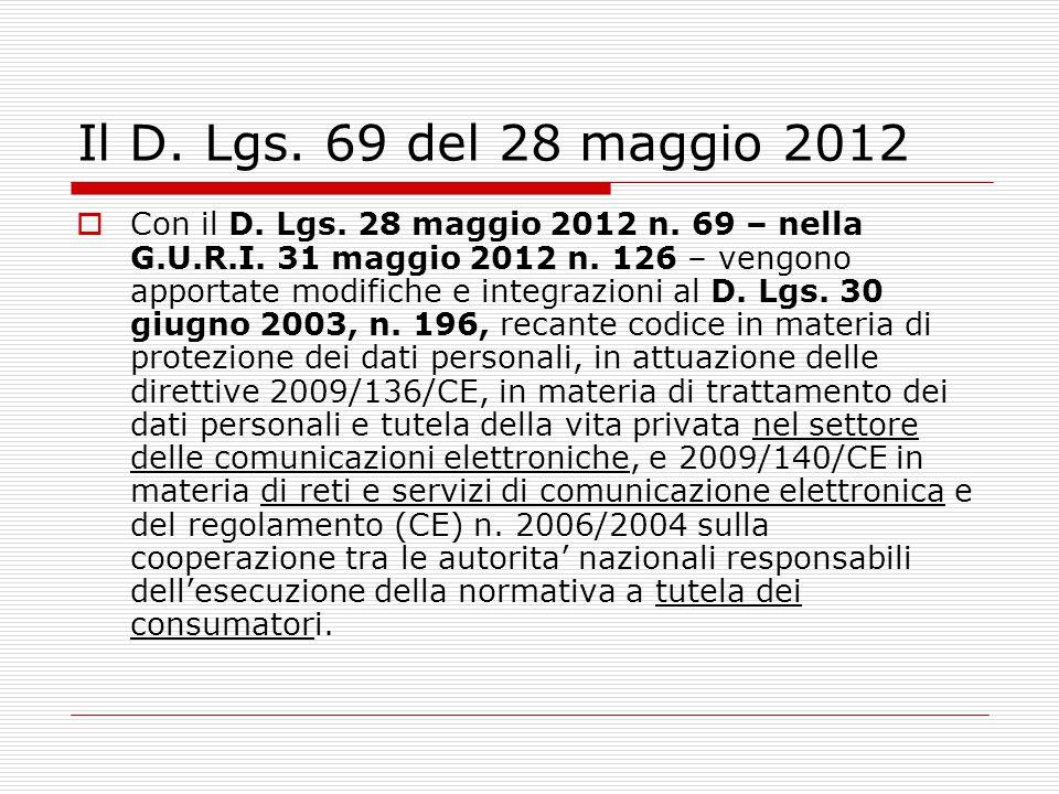 Il D. Lgs. 69 del 28 maggio 2012