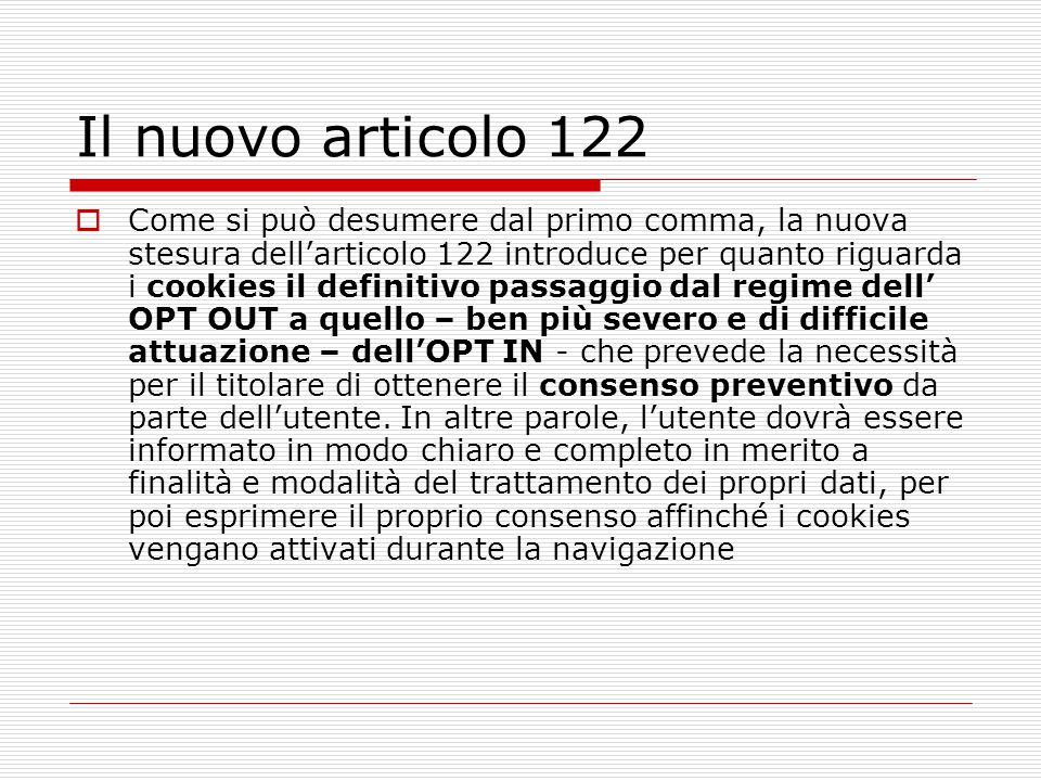 Il nuovo articolo 122