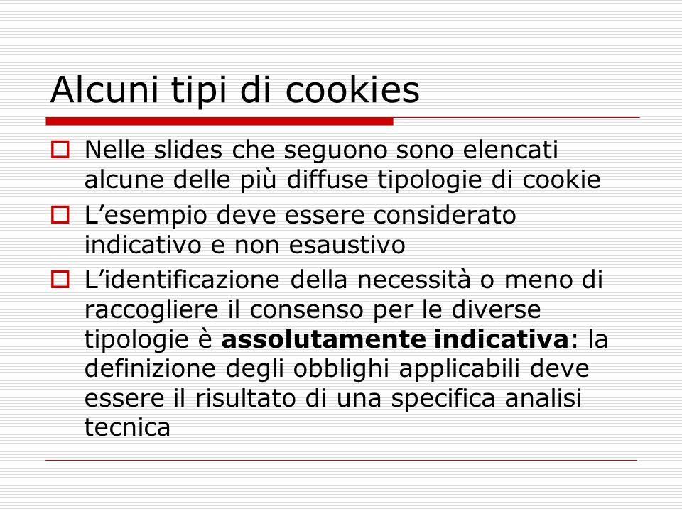 Alcuni tipi di cookies Nelle slides che seguono sono elencati alcune delle più diffuse tipologie di cookie.