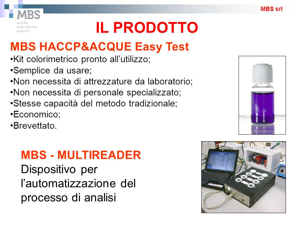 IL PRODOTTO MBS HACCP&ACQUE Easy Test MBS - MULTIREADER