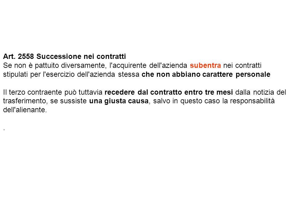 Art. 2558 Successione nei contratti