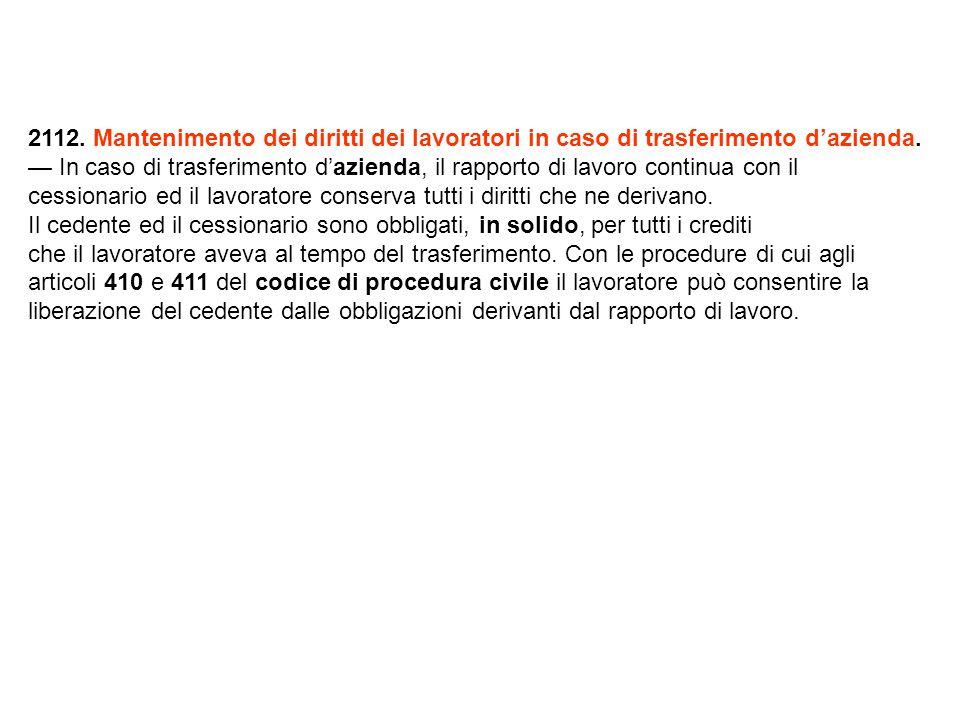 2112. Mantenimento dei diritti dei lavoratori in caso di trasferimento d'azienda.
