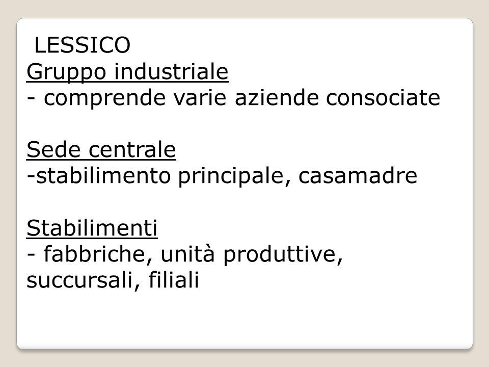 LESSICO Gruppo industriale - comprende varie aziende consociate. Sede centrale. stabilimento principale, casamadre.
