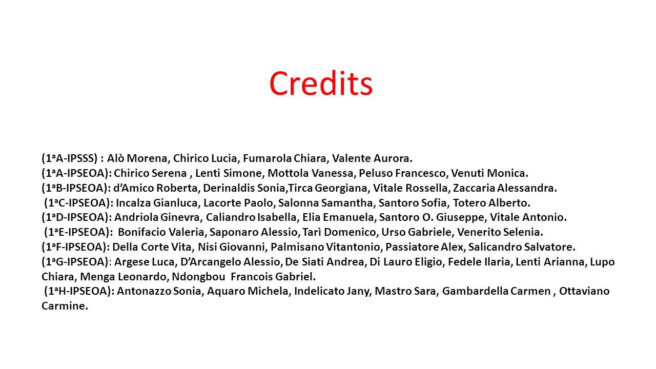 Credits (1aA-IPSSS) : Alò Morena, Chirico Lucia, Fumarola Chiara, Valente Aurora.