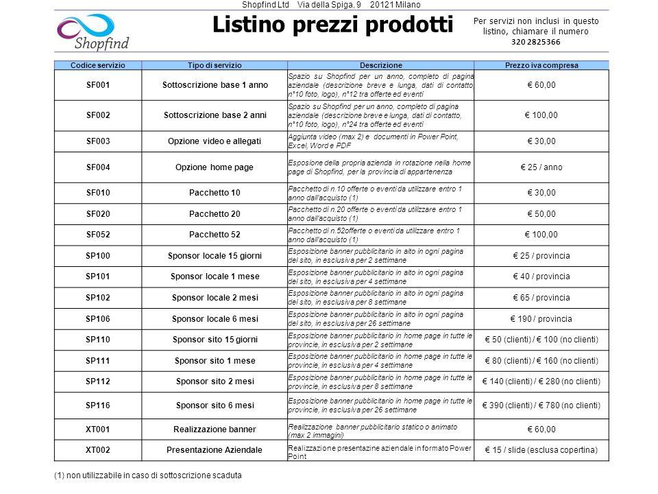 Listino prezzi prodotti