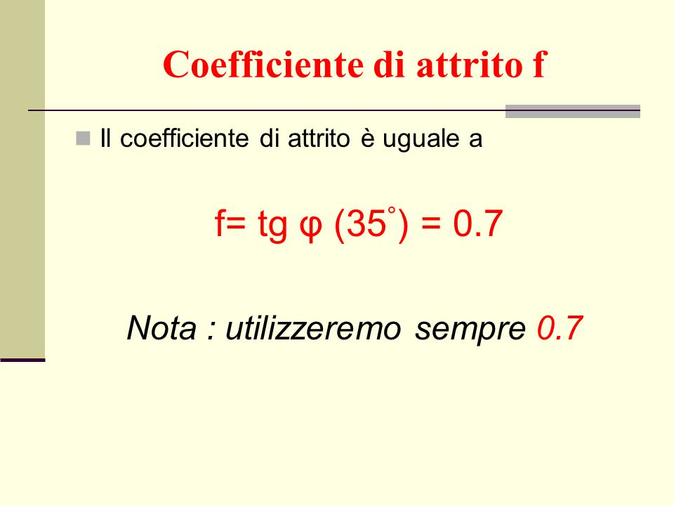 Coefficiente di attrito f