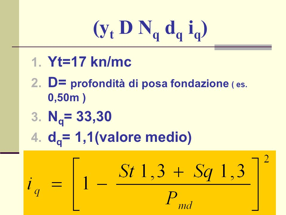 (yt D Nq dq iq) Yt=17 kn/mc. D= profondità di posa fondazione ( es.