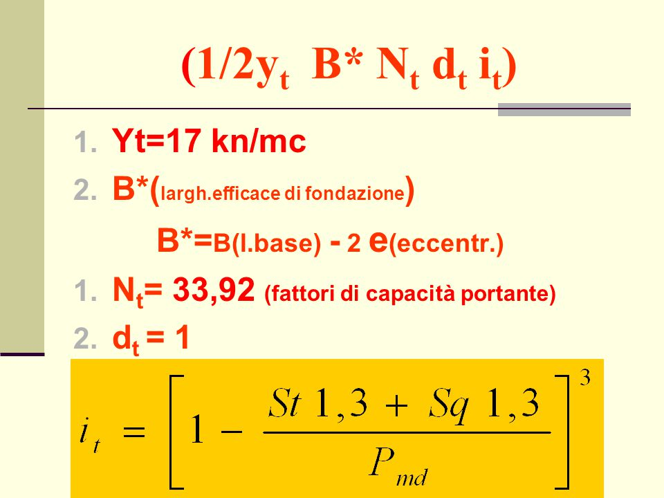 (1/2yt B* Nt dt it) Yt=17 kn/mc B*(largh.efficace di fondazione)