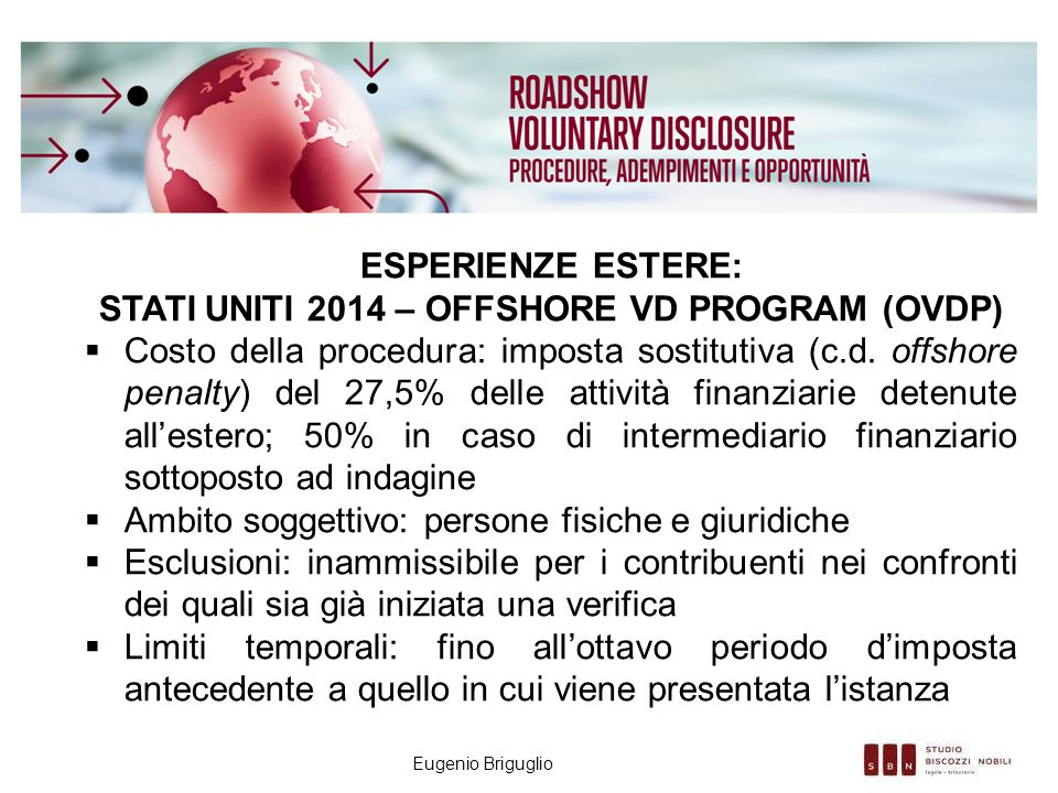 Stati Uniti 2014 – Offshore VD Program (OVDP)