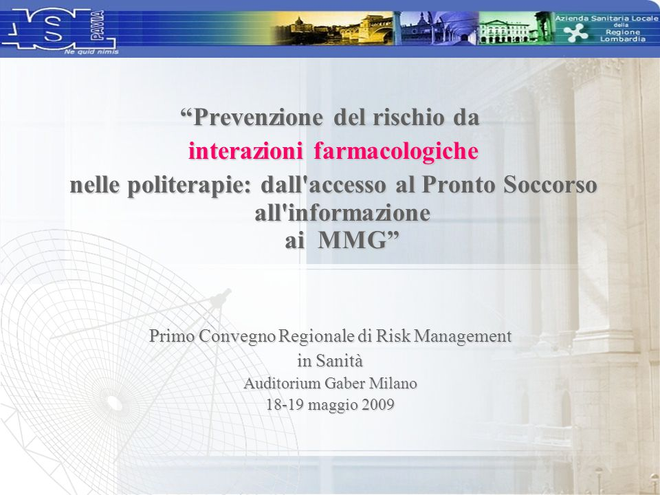 Prevenzione del rischio da interazioni farmacologiche