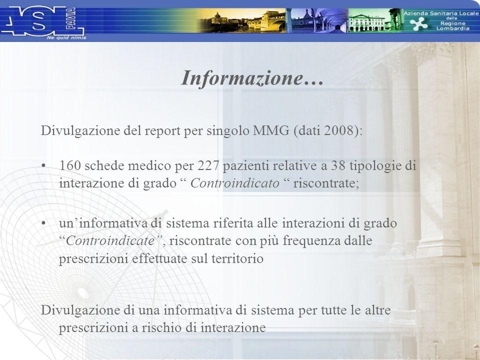 Informazione… Divulgazione del report per singolo MMG (dati 2008):