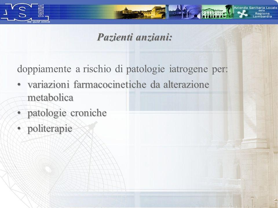 Pazienti anziani: doppiamente a rischio di patologie iatrogene per: variazioni farmacocinetiche da alterazione metabolica.