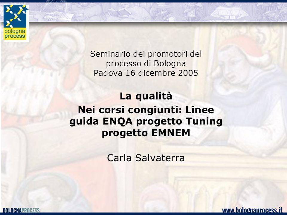Nei corsi congiunti: Linee guida ENQA progetto Tuning progetto EMNEM