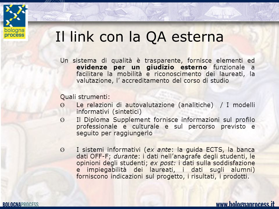 Il link con la QA esterna