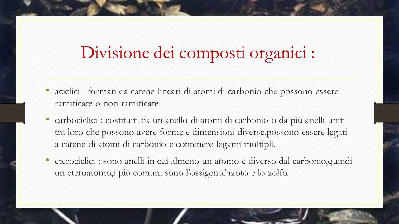 Divisione dei composti organici :