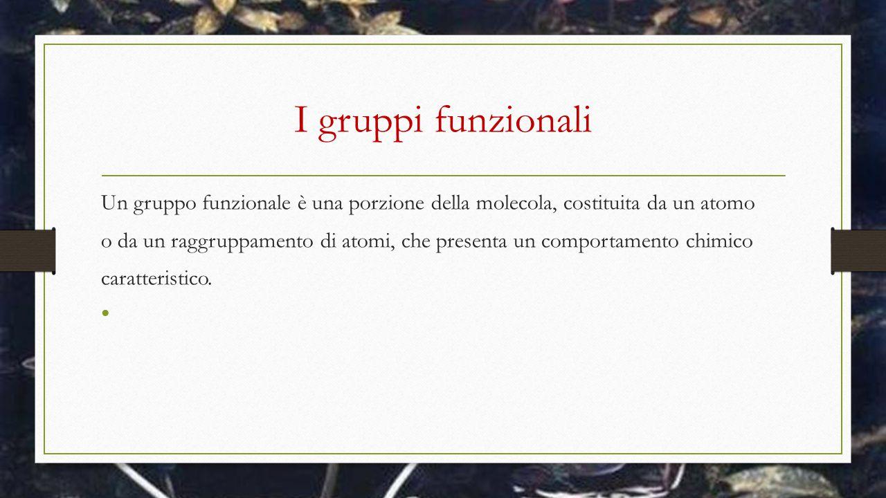I gruppi funzionali Un gruppo funzionale è una porzione della molecola, costituita da un atomo.