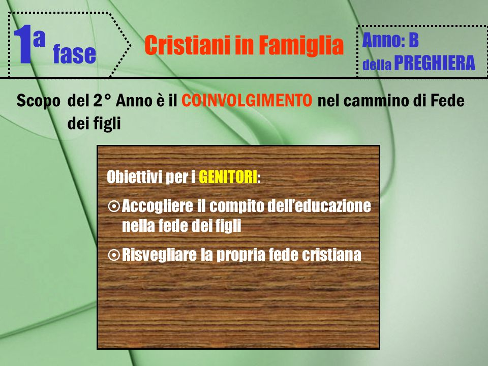 1ª fase Cristiani in Famiglia Anno: B della PREGHIERA