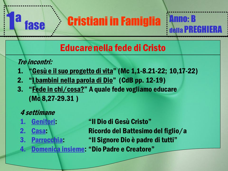 Educare nella fede di Cristo
